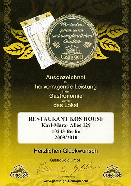Urkunde Gastro Gold
